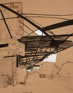 lucinda rogers drawing black and white ink new york city street scene meat packing district gachot