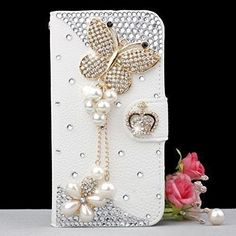 LG G4 Case,Gorgeous Butterfly Bling Crystal White PU Wallet Card Holders Leather Case