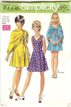 Vintage Simplicity Misses Sewing Pattern 8779 Size 14 by NookCove, $4.99