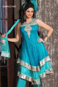 Dashing Blue Net Anarkali Churidar Set