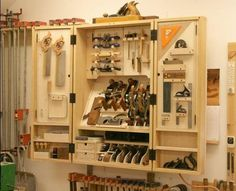 New tool cabinet packs in a lot of storage......More #Woodworking projects at ►►► http://www.woodworkerz.com