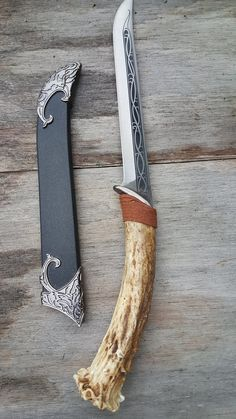 Real Deer Antler Handle Dagger Knife With Black Sheath
