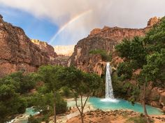 A rainbow adds magic to an already paradisiacal scene at Havasu Falls, Arizona, in this National Geographic Photo of the Day. National Geographic Society, National Geographic Photos, Havasu Falls Arizona, Shot Photo, Geocaching, Best Photographers, Landscape Photographers, Natural Wonders, Amazing Nature