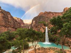 Rainbow and Waterfall Image, Arizona