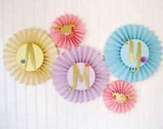 Unicorn Party Decorations - Paper Rosettes - Unicorn Banner - Unicorn Birthday - Unicorn 1st Birthday - Paper Fans - Unicorn Theme Party