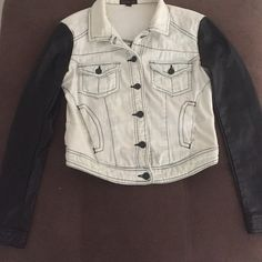 Jean/faux leather jacket Perfect condition. Worn maybe once. Material Girl Jackets & Coats Jean Jackets