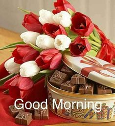 Chocolate bouquet when gifted can have the long-lasting impression on your loved ones and can surprise them on their special occasion. Good Morning Cards, Good Morning Flowers, Good Morning Good Night, Good Morning Wishes, Morning Greeting, Good Morning Images, Gd Morning, Chocolates, Birthday Wishes