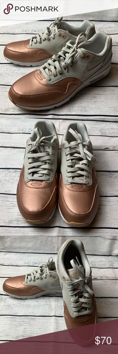 free shipping 07771 56401 Nike Air Max 1 Nike Air Max 1 Ultra Essentials SE Casual Shoes - Light Bone  Metallic Rose Gold Shoes are new but we re a display, so it may have small  ...