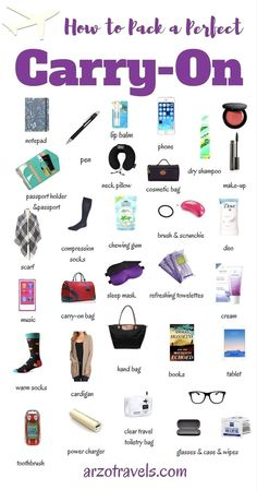 How to pack a perfect carry-on when traveling.Travel tips and a packing guide: carry-on must have items. Things you should not forget to pack. #traveltips