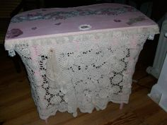 Top and back view of vintage textile covered dressing table... SOLD