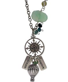 Up, Up, and Away Necklace  - Sterling Silver Hot Air Balloon Charm, silver key pendants, and compass charms from Nina Designs® are just dreamy! Visit us now.