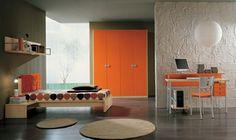 dormitorios para adolescentes en color naranja
