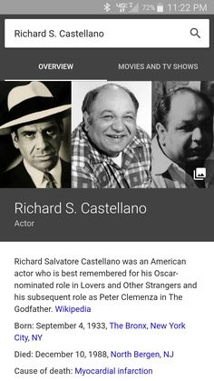 If you google actor Richard Castellano a picture of actor Al Lettieri is shown under his overview.
