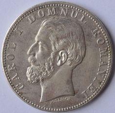 Rare Romanian Silver Coin 2 LEI 1881 CAROL I DOMNUL ROMANIEI XF + Proof