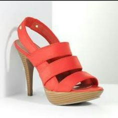Vera Wang Bright Orange Strappy Scuba Heels