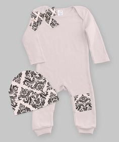 Look at this Tesa Babe Blush & Black Brocade Bow Patch Playsuit & Beanie - Infant on #zulily today!