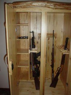 Custom log gun cabinet from K&A Log Furniture  www.kalogfurniture.com