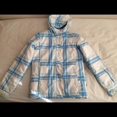 Roxy ski/snow jacket Blue/white plaid design. Very warm and comfortable, waterproof. Child size 14, but would fit for adult small. Roxy Jackets & Coats
