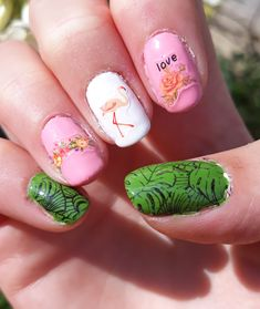 Summer nail art with flamingo.