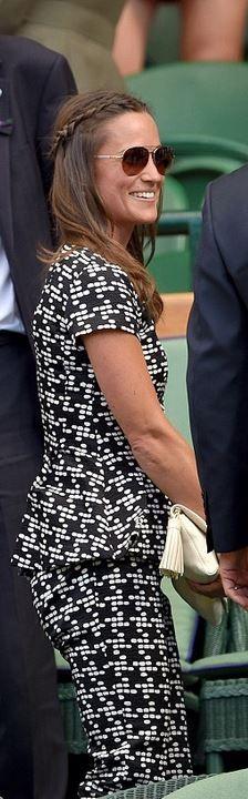 7fe1e313794 Pippa Middleton  Shirt and pants – Carlina Herrera shoes – Amparo