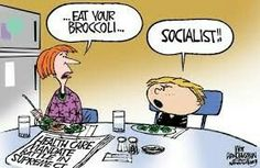 When I was a kid, vegetables, but particularly broccoli and peas, were the symbol of parental oppression. Political Images, Political Satire, Political Cartoons, Latest Cartoons, Calvin And Hobbes, Socialism, Oppression, Comic Strips, Funny Photos