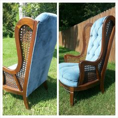 Hollywood Regency Caned Tufted High Back Wingback Chair.
