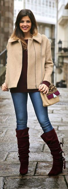 Beige and Burgundy - TrendyTaste