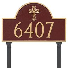 Montague Metal Products Classic Arch with Fluted Cross Address Plaque Finish: White/Gold