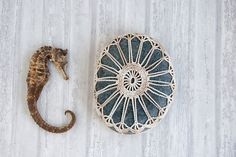 crochet lace stone // rustic beach // river rock by TableTopJewels, $45.00