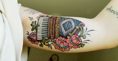 fuckyeahtattoos: I got this tattoo for my grandparents (on my fathers side). my grandfather played the accordion his whole life. the kurbit...