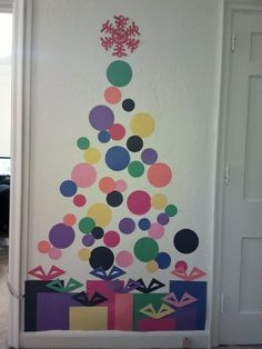 Polka dot Christmas tree mural