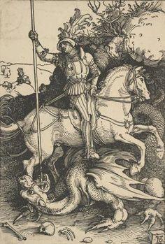 Св. Георгий на коне - Немецкая гравюра