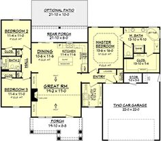Traditional Style House Plan - 3 Beds 2 Baths 1675 Sq/Ft Plan #430-78 Floor Plan - Main Floor Plan - Houseplans.com