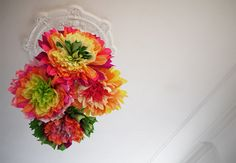 Pin for Later: Turn Your Space Into a Springtime Haven With These 21 Floral DIYs Crepe-Paper Flowers Can't afford a chandelier? Make these DIY crepe-paper flowers instead. Diy Wedding Projects, Diy House Projects, Cool Diy Projects, Mexican Paper Flowers, Tissue Paper Flowers, Paper Poms, Flower Paper, Paper Ribbon, Flower Crafts
