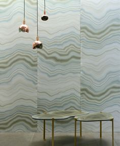 Reference : Like a slice of veined marble polished by craftsmen, the subtle wave design of CARRIERE is woven in rich heavy satin. Hallway Decorating, Interior Decorating, Hallway Designs, Hallway Furniture, Wave Design, Decoration Design, Wall Treatments, Valance Curtains, Decorative Items