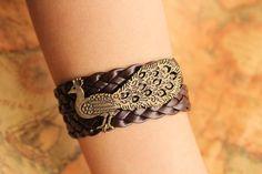 peacock bracelet,retro bronze Magnificent peacock,brown braid leather bracelet---B036. $6.99