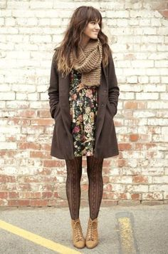 to Transition Your Wardrobe from Summer to Fall Glam Radar This outfit looks like a great transition from winter to spring. I love the floral dress.This outfit looks like a great transition from winter to spring. I love the floral dress. Mode Outfits, Fashion Outfits, Womens Fashion, Fashion Ideas, Woman Outfits, Style Fashion, Fashion Tights, Club Outfits, Ladies Outfits
