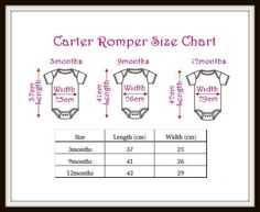Standard infant romper sizing chart.
