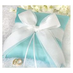 Amazon.com: Aqua Blue Double Bow Ring Bearer Pillow: Everything Else