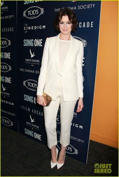 Anne Hathaway  Suit Each Other at 'Song One' Premiere