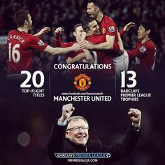 Barclays Premier League congratulate Manchester United F.C for titles on English top flight & titles for BPL ~~Champions of England Manchester United Champions, Manchester United Football, World Football, Football Team, Sir Alex Ferguson, Premier League Champions, Sports Fanatics, Barclay Premier League, Sport Icon