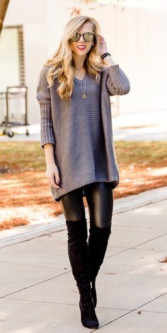 #winter #outfits women's black V-neck sweatshirt and black leggings. Click To Shop This Look.