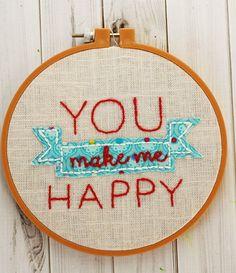 "How-To: ""You Make Me Happy"" Hoop Art"