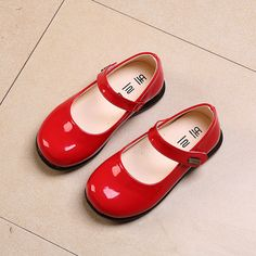 Girl princess red leather shoe spring autumn Old Dresses d16b7c7797e4