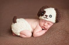 Puppy Dog Newborn Hat and Diaper Cover set by ekplovelies on Etsy, $48.00