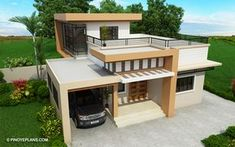 Meet Kassandra, two storey house design with roof deck. The ground floor has a total floor area of 107 square meters and 30 square meters at the second floor House Roof Design, 2 Storey House Design, Small House Design, Modern House Design, Design For Small Bedroom, Two Story House Design, Bedroom Small, Two Storey House Plans, Double Storey House