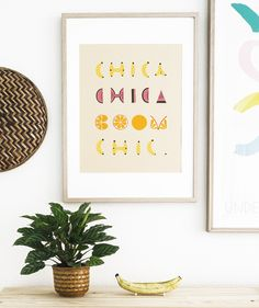 Boom Chic poster by Camilla Bromann. Hand cut font collage & illustration.