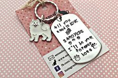 Rescue dog gift rescue pet gift Samoyed gift Hand Stamped