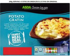 Asda Potato Gratin Syns Slimming World Syns, Meal Deal, Asda, Family Meals, Mashed Potatoes, Crisp, Dishes, Breakfast, Ethnic Recipes