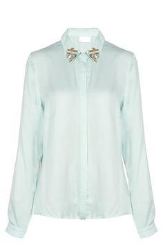 Camisa lisa cuello pedrería blanco/verde de Vila | EAT
